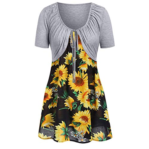 Women's Dresses Cropped Cardigan 2 Piece Sets - Sunflower Sleeveless Spaghetti Strap Summer Swing Dress Lace up Shrug Outfit (M, Gray) ()