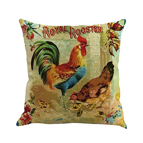E-Scenery Clearance Sale! Throw Pillow Cases, Happy Easter Rooster Cotton Linen Square Decorative Pillow Covers Cushion Cases for Sofa Bedroom Car Home Decor, 18 x 18 Inch - Rooster 24