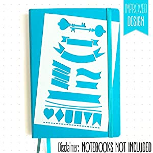 BULLET JOURNAL STENCIL SET - Banners, Dividers, & Icons | Fits Leuchtturm & Moleskine A5 Notebooks | Best used with Huhuhero Fineliners & Sakura Micron Pens …