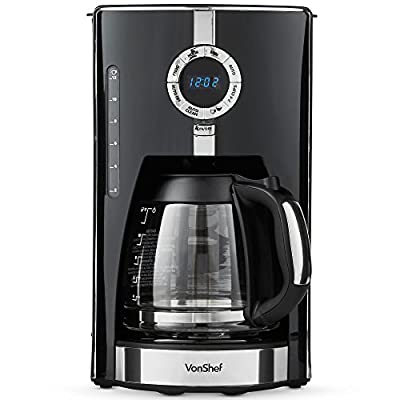 VonShef 975W Digital Filter Coffee Maker Brewer 12 Cup Machine with Glass Carafe – Features Programmable Timer, Brew Strength Settings and Digital Display