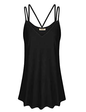 c1a42c6d32f5d Cyanstyle Cool Tank Tops for Women V Neck Fowly Swing Tunic Spaghetti Strap  A Line Swing