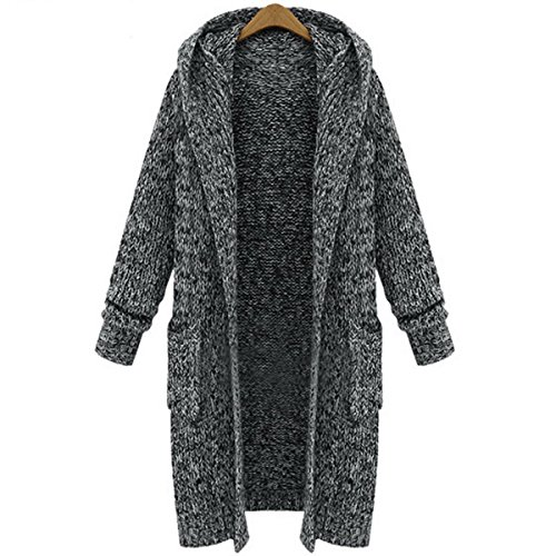 AOMEI Long Cardigans Sweater for Women Long Sleeve with Hood Pockets Gray Color Size XL