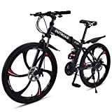 Outroad Mountain Bike 6 Spoke 21 Speed Double Disc Brake Suspension Fork Rear Suspension Anti-Slip Folding Bike (Black,26 in)