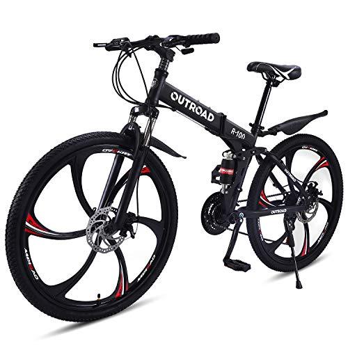 Outroad Mountain Bike 6 Spoke 21 Speed 26 in Folding Bike Double Disc Brake Suspension Fork Rear Suspension Anti-Slip Bicycles