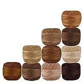Set 10 Pcs Shades of Brown Cotton Crochet Thread Knitting Handicrafter Balls Cross Stitch Tatting Doilies Skeins Lacey Craft Yarn