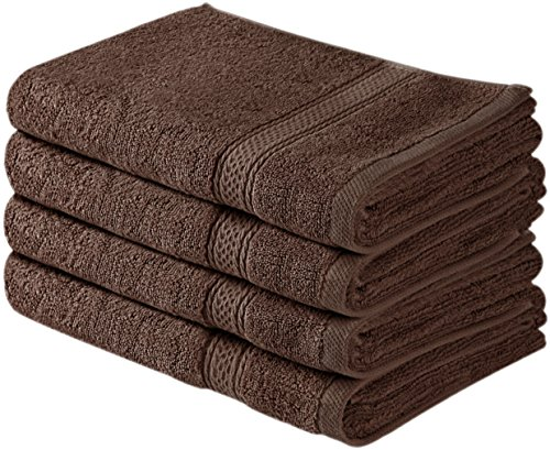 Utopia Towels Cotton Large Hand Towels (Brown, 4-Pack,16 x 28 inches) - Multipurpose Use for Bath, Hand, Face, Gym and Spa