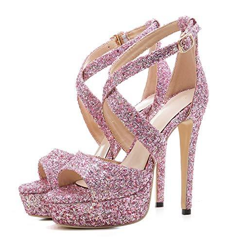 D'été Chaussures Talons Plate nbsp;bling Supérieure 33 Mince 2018 Pink Hoesczs Sandales forme Femmes Grande Gladiateur Hauts Fête Taille 43 De nbsp; nbsp; PXuOkiZ