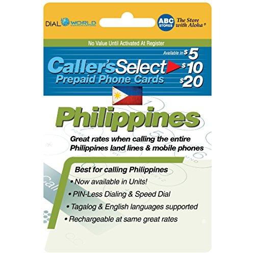 $20 Caller's Select Philippines Phone Calling Card for Cheap Calls to the Philippines. Get up to 360 Units to Call Filipino Landlines and 280 Units to Call Cellphones. (Best Pinless Calling Card)