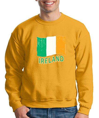 Ireland Flag Retro Crewneck Irish Day Distressed Flag Sweatshirt Gold - Distressed Crewneck Gold
