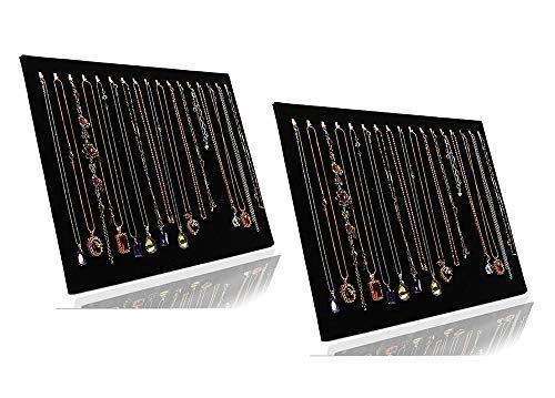 JIFF Velvet Necklace Jewelry Organizer/Tray/Pad /Showcase/ Display case (2 pack-Black 17 Hook Necklace Display)