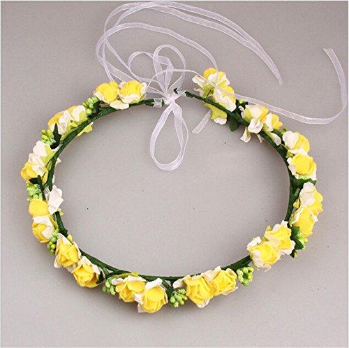 MIJORA-Rose Flower Crown Headband Wedding Prom Beach Floral Garland Hairband For ()