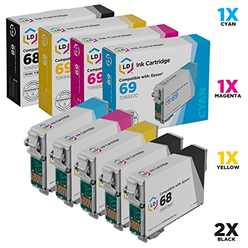 LD Remanufactured Ink Cartridge Replacement for Epson 68 & 69 (2 Black, 1 Cyan, 1 Magenta, 1 Yellow, 5-Pack) ()