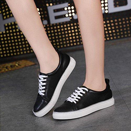 SHINIK Femmes, Chaussures décontractées en plein air, simples, rondes, suture, suture, ligne, petites chaussures blanches, chaussures de skate, blanc noir , black , 38