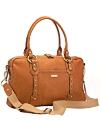 Storksak Elizabeth Diaper Bag in Tan Leather