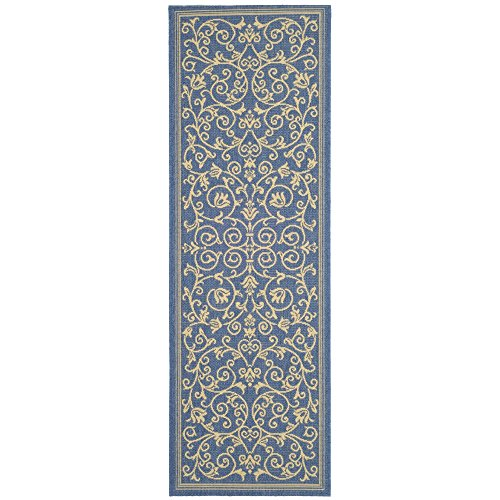3 X 6 Runner (Safavieh Courtyard Collection CY2098-3103 Blue and Natural Indoor/ Outdoor Runner (2'3