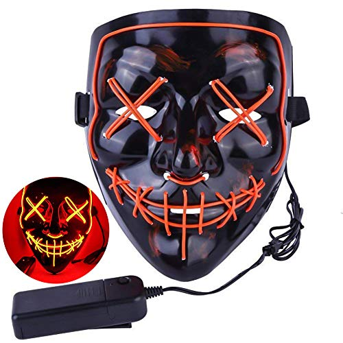 Amberqin Halloween Mask LED Lighted Mask for Festival Cosplay Halloween Costume Party Ball Mask (Multiple Colors Optional)( Red