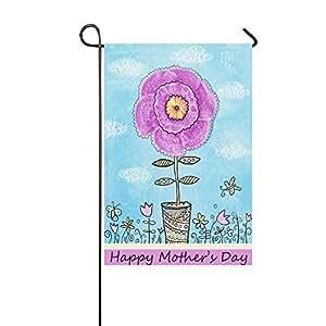 interestprint Floral flores en un jarrón largo poliéster banderines de jardín 12X 18inch, Happy madre de Day decorativa bandera para aniversario de boda decoración de la casa jardín al aire libre