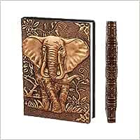 XUAN Libretas Bonitas A5 Tapa Dura, Cuadernos Cuero Vintage, Bullet Journal Notebook Diario de Viaje Niños Niña Niño Adultos, Hojas Rayas/Lined/Líneas Regalo para Mujer Hombre 3D Elefante Cobre