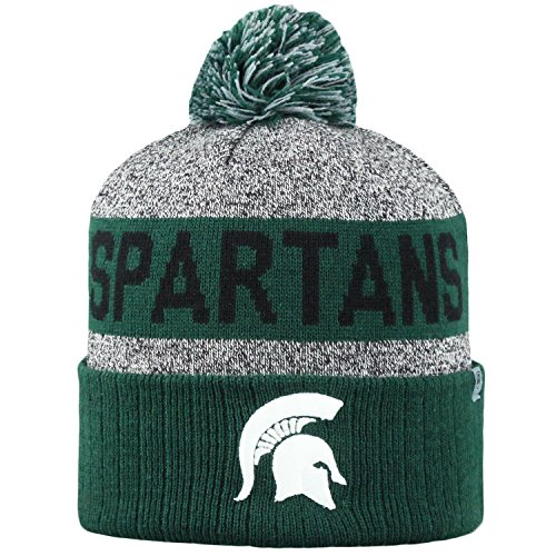 Top of the World NCAA Arctic Striped Cuffed Knit Pom Beanie Hat-Michigan State Spartans