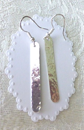Earrings Long Rectangle - Hand Hammered Long Rectangle Earrings With Sterling Silver