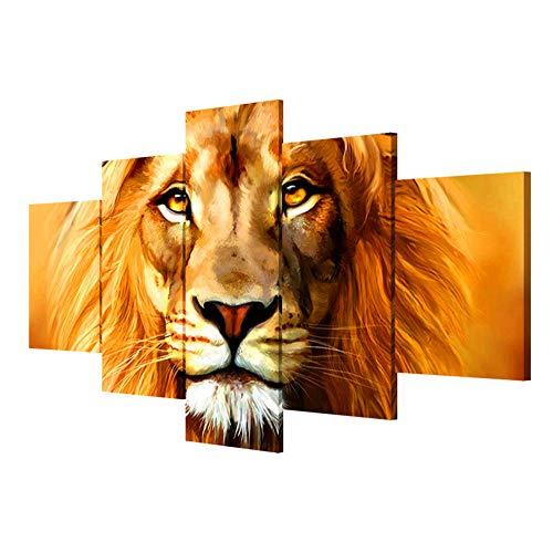 HOWAPANT Wall Paintings,Wall Art,Home Decorations,5 Panels, Hand-Painted Lion Pictures Frameless Canvas Decorative Painting Living Room Wall Paintings, Trumpet