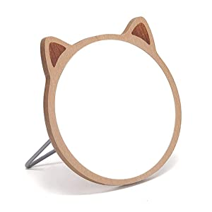 TBWHL Cat Desktop Mirror Makeup Mirror for Tabletop Bathroom Shower Travel Hand Mirror