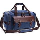 Canvas Duffel Bag, Aidonger Vintage Canvas Weekender Bag Travel Bag Sports Duffel with Shoulder Strap (Darkblue-21)