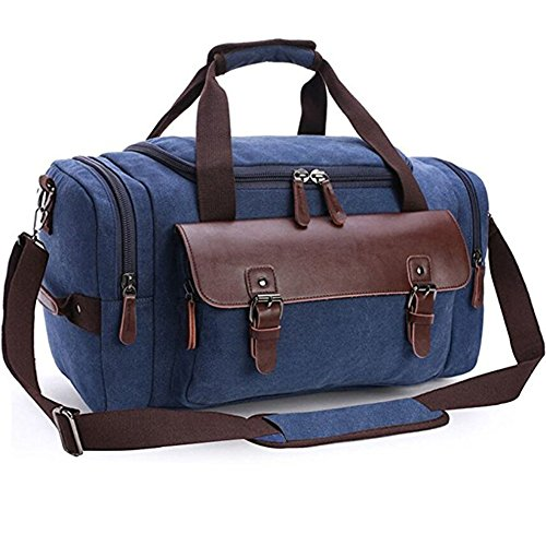 Canvas Duffel Bag, Aidonger Vintage Canvas Weekender Bag Travel Bag Sports Duffel with Shoulder Strap (Darkblue-21) - Notre Bag Gym Dame