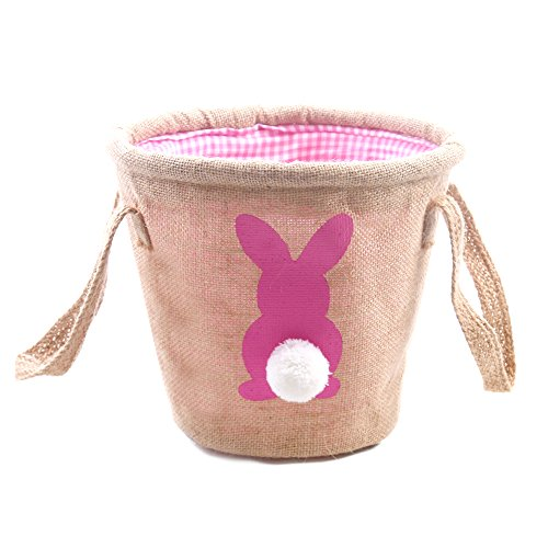 Easter Egg Basket for kids Bunny Burlap Bag to Carry Eggs Candy and Gifts (bunny pink) (Basket Burlap)