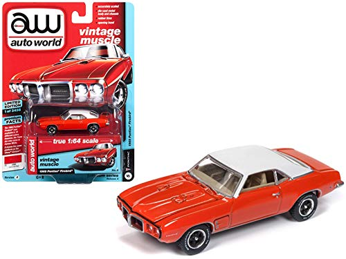 Auto World 1969 Pontiac Firebird Carousel Red Flat White Roof Vintage Muscle Limited Edition to 3,456 Pieces Worldwide 1/64 Diecast Model Car 64192/AWSP018A
