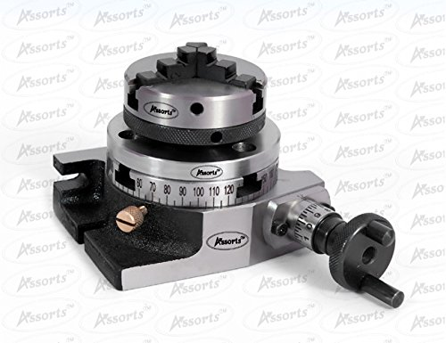 3'' Inches (75 mm) Rotary Table & 65 mm 3 Jaws Self Centering Chuck+ Back Plate+ T-nuts by Global Tools