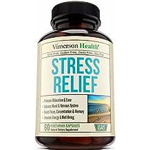 Stress Relief & Anti Anxiety Supplement - Natural Herbal Blend with Biotin, 5-HTP, Valerian, Lutein, Vitamins B1 B2 B5 B6, L-Theanine, St John's Wort, Ashwagandha, Chamomile, Niacin, Gaba, Hawthorn