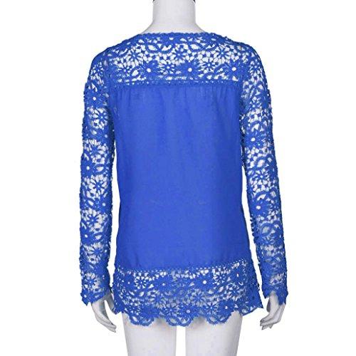 Femmes Casual longues manches ample S XXXXXL Shirt Blouse Transer shirt coton Femme Tops couleurs 9 Bleu Chemisier Mode Dentelle T qxnwwpfF1