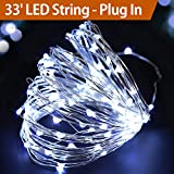 BRIGHT ZEAL 33' Very Bright Cool White Fairy Lights Plug In - Cool White LED String Lights Plug In with Timer - Bright String Lights for Bedroom - Indoor Cool White Christmas Lights White Wire BZA