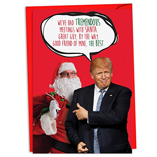 12 Boxed 'Trump Meetings with Santa' Christmas Cards with Envelopes 4.63 x 6.75 inch, Santa Claus and the President Season's Greetings Cards, Funny Humorous Cards for the Holidays C4249XSG-B12 -