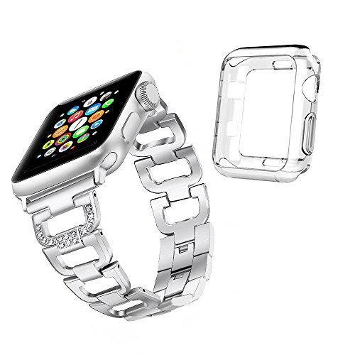 Magnve Bling Band Compatible Apple Watch Band 38mm,Women Stainless Steel Metal Fashion Design Replacement Wrist Strap and Screen Protector, for iWatch Series 3 Series 2 Series 1 Sport (38mm Silver)