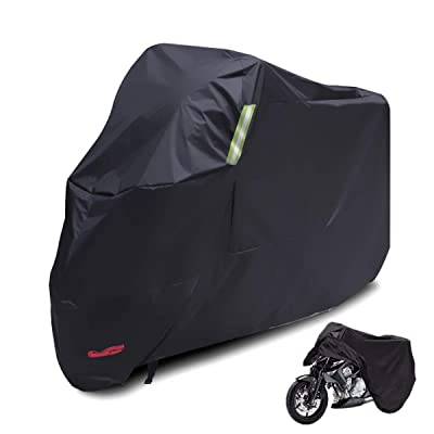 Black Waterproof Sun Motorcycle Cover,Motorcycle Cover for Motorbike Rain Sun UV Dustproof All Season All Weather Outdoor Protective Cover(104 inch,Black): Automotive