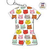 Zinc Alloy Metal Home Key Chain,Print Cats,Gift For Friends Men Women