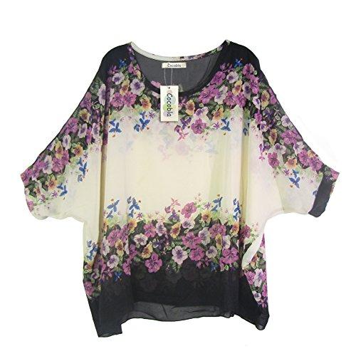 Womens Dolman Sleeve - Cocobla Women Boat Neck Loose Dolman Sleeve Tops Bohemian Chiffon Blouse T Shirt (L, Floral)