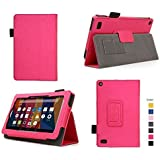 """Case for Fire 7 - Premium Folio Case with Stand for the NEW Fire, 7"""" Display (Sept, 2015 Release) (Imprint Pink)"""