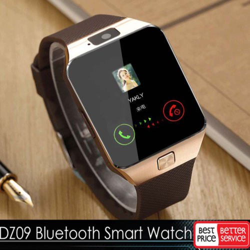 Price comparison product image USPS First Class # Gold DZ09 Bluetooth Smart Watch GSM SIM for iPhone Samsung lg Android Phone Mate