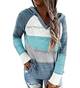 Biucly Women's Lightweight Color Block Knit Hoodies Sweaters Loose Long Sleeve V Neck Drawstring ...
