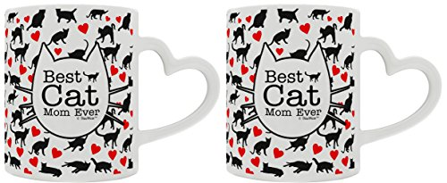 Funny Cat Gifts Best Cat Mom Ever Rescue Cat 2 Pack Heart Handle Gift Coffee Mugs Tea Cups Heart Handle