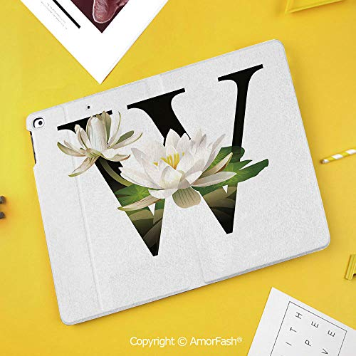 Case for Samsung Galaxy Tab S4 10.5 T830 T835 T837 Kids Safe Shockproof,Letter W,Water Lily Flower Arrangement Nature Inspired Alphabet Design Floral Print Decorative,White Green - Little Lilys Alphabet