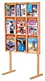 Wooden Mallet Divulge 9 Magazine/18 Brochure Floor Display w/Brochure Inserts 9, Light Oak
