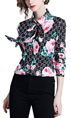 SANHION Women's Regular Fit Long Sleeve Button Casual Blouse Chain & Baroque Print Shirt