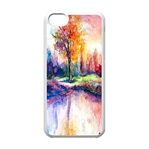 Sunsets Landscape Watercolor IPhone 5C Cases, Jumphigh {White}