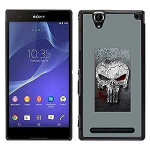 // PHONE CASE GIFT // Duro Estuche protector PC Cáscara Plástico Carcasa Funda Hard Protective Case for Sony Xperia T2 Ultra / GRAY PUNISH SKULL /