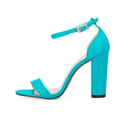566eb5a864e ZriEy Women's Chunky Block Strappy High Heel Pump Sandals Fashion Ankle  Strap Open Toe Shoes