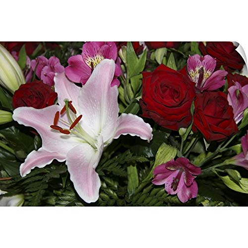 (CANVAS ON DEMAND Marilyn Parver Wall Peel Wall Art Print Entitled Full Frame of Flower Arrangement Including red Roses and a Rubrum Lily 36